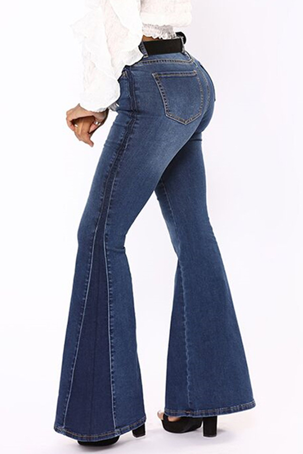 Lovely Casual Trumpet-shaped Royal Blue Jeans