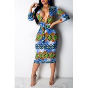 Lovely Trendy Ethnic Printed Blue Mid Calf Dres