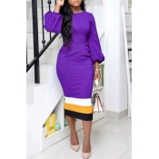 Lovely Trendy Patchwork Purple Twilled Satin Mid Calf Dress