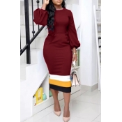 Lovely Trendy Patchwork Wine Red Twilled Satin Mid Calf Dress