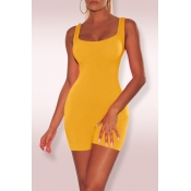 Lovely Casual Sleeveless Skinny Yellow One-piece Rompers