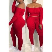 Lovely Casual Dew Shoulder Red Blending Two-piece