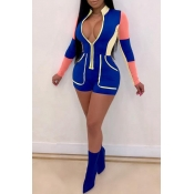 Lovely Trendy Patchwork Skinny Blue One-piece Romp