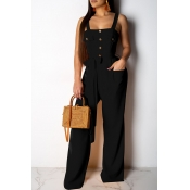 Lovely Casual Buttons Decorative Black One-piece Jumpsuit (With Belt)
