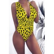 Lovely Trendy Leopard Printed Yellow One-piece Swimwears
