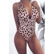 Lovely Trendy Leopard Printed Pink One-piece Swimw