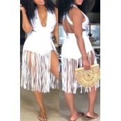 6e22f3616af7 Lovely Sexy Tassel Design White Blending One-piece Rompers
