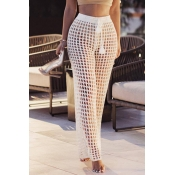 Lovely Sexy Hollowed-out White Knitting Pants (Wit