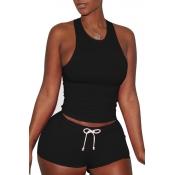 Lovely Sportswear Drawstring Black Two-piece Shorts Set