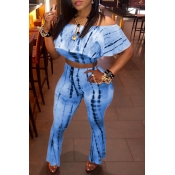 Lovely Sweet Dew Shoulder  Blue Two-piece Pants Set