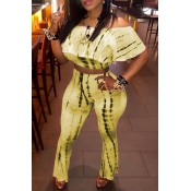 Lovely Sweet Dew Shoulder Yellow Two-piece Pants Set