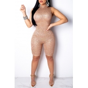 Lovely Sexy Skinny Gold One-piece Rompers