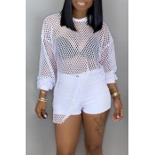 Lovely Casual Hollowed-out White Blouses