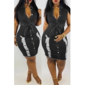 Lovely Pre-sale Broken Holes Lace-up Black Denim Dress(With Belt)