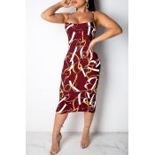 Lovely Temperament Spaghetti Strap Printed Wine Red Mid Calf Dress