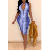 Lovely Sexy Animal Printed Royal Blue Twilled Satin One-piece Rompers