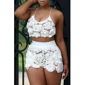 Lovely Sweet Floral Light White Lace Two-piece Shorts Set