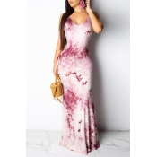 Lovely Sweet Backless Purple Floor Length Printed