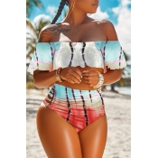 Lovely Casual  Dew Shoulder Printed Red Two-piece Swimwear