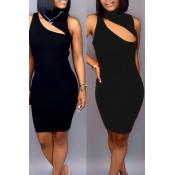 Precioso Sexy Ahuecado Mini Vestido De Mezcla Negro