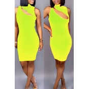 Lovely Sexy Hollowed-out Yellow Blending Mini Dress