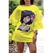 Mini Abito T-shirt Giallo Stampato Adorabile Ritratto Dolce