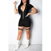 Lovely Sexy Hollowed-out Skinny Black One-piece Ro