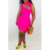 Precioso Mini Vestido Con Mezcla De Rosa Ahuecada Sexy De Color Rosa