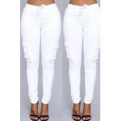 Lovely Trendy Skinny Drawstring White Pants