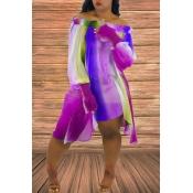 Lovely Sweet Striped Purple Chiffon Mini Dress