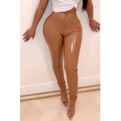 Lovely Trendy Skinny Brown PU Pants