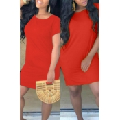 Lovely Casual O Neck Loose Red Mini T-shirt Dress