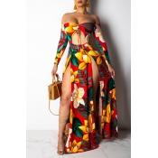 Lovely Sexy Side High SlitRed Floor Length Dress