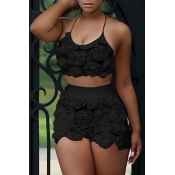 Lovely Sweet Floral Black Lace Two-piece Shorts Set