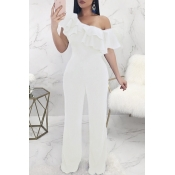Lovely Casual Dew Shoulder White Knitting One-piece Jumpsuit
