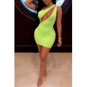 Women's Sexy One Shoulder Green Bodycorn Mini Dress