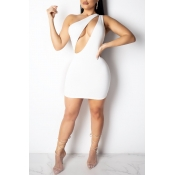 Lovely Sexy One Shoulder White Mini Dress
