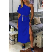 Lovely Casual One Shoulder Royal Blue Mid Calf Dress(Without Belt)
