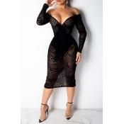 Lovely Women s Transparent Black Lace Mid Calf Dre
