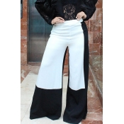 Lovely Black/White Hight Waist Patchwork Pants(Wit