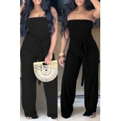 Lovely Simple Style Striped Lace-up Black Jumpsuit
