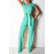 Lovely Light Green Two-piece Pants Set