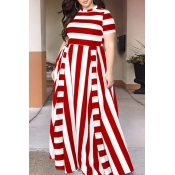 Lovely Red/White Striped Floor Length Dress(With E