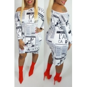 Lovely Casual One Shoulder Print White Knee Length