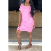 Lovely Casual Short Sleeve Pink Dress(With Elastic