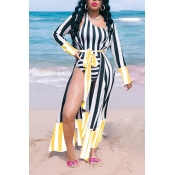 Lovely Bohemian One Shoulder Yellow One-piece Swimwear (With Cover-up)