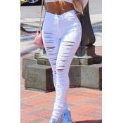Lovely Leisure High Waist Broken Holes White Jeans