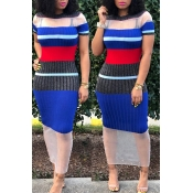 Lovely Leisure Short Sleeve Striped Maxi Dresses(W