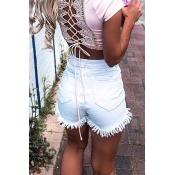 Lovely Casual High Wasit Tassel Design White Short