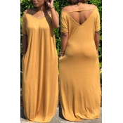 Lovely Casual Hollow-out Yellow Dress